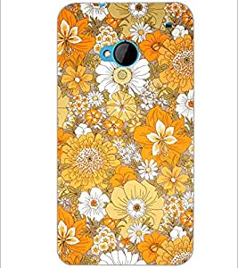 PrintDhaba Flowers D-2077 Back Case Cover for HTC ONE M7 (Multi-Coloured)