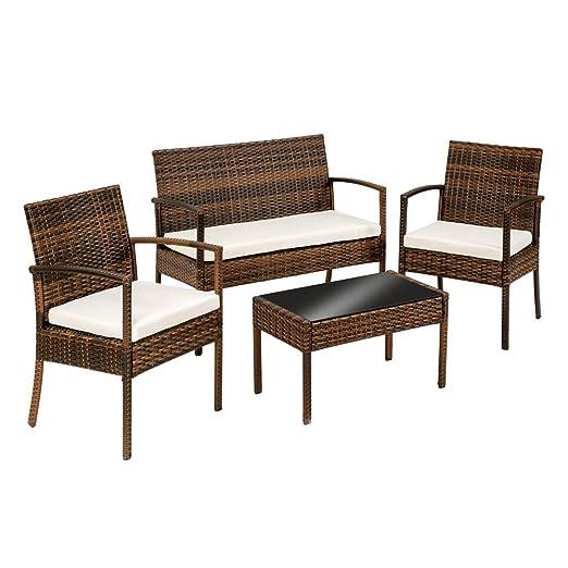 tectake conjunto muebles de jardn en poly ratan sintetico negro plazas sillones