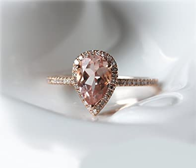VogueGem Pear Morganite Ring Halo Diamond 14k Rose Gold Ring Wedding Ring Engagement Ring Gemstone Ring