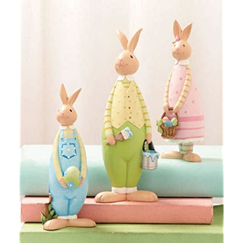 3 Piece Easter Bunnies Figurine Set Whimsical Spring Decor Table Top Home Accent Sculpture Bunny Family Egg Hunt Rabbit Decoration