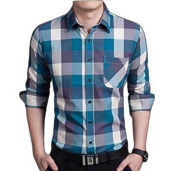 Shop358 チェック柄 ネイビー Yシャツ ネルシャツ 長袖 インナー カッターシャツ カジュアル 全6カラー