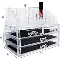 Ikee Design Acrylic Jewelry & Cosmetic Storage Display Boxes Two Pieces Set