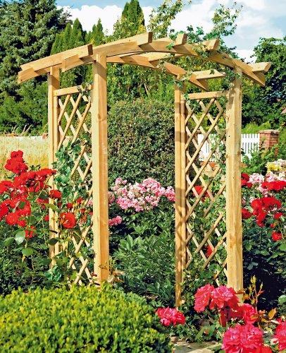 Holz pergola mit bogen und rankgitter - Gartentor pergola ...