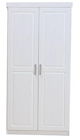 2-trg. Kleiderschrank HAKON Schlafzimmerschrank Flugelturenschrank Massiv weiß