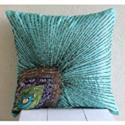 Peacock Grace - 14x14 inches Decorative Pillow Covers - Silk Pillow Cover with Sequins & Beads