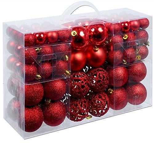Set di 100 palle di Natale Ø3/4/6cm plastica rosso ornamento per l'albero di Natale decorazione di Natale decorazione per l'abete