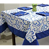 AURAVE Blue Floral Printed Eight Seater Cotton Table Cover With Napkins