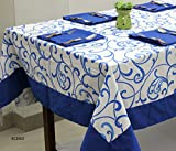 AURAVE Blue Floral Printed Four seater Cotton Table cover with Napkins