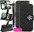 OMIU(TM)Gorgeous Camellia Flower Ornament Luxury PU Leather Magnet Stand Wallet Flip Case Protective Cover with Credit Card Holder and Extra Money Pocket For HTC One M8(Black),Sent Stylus