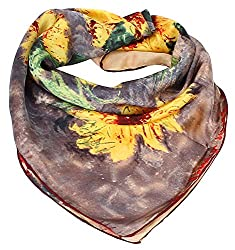 Olina Women's High-Grade Elegant 100% Luxury Square Silk Scarf (Van Gogh - Sunflowers)