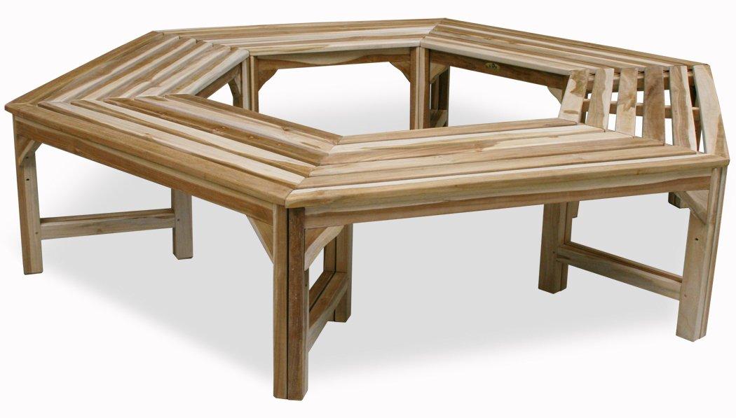KMH®, 360° Baumbank (hexagonal) ohne Rückenlehne aus massivem Teakholz! (#102153) günstig