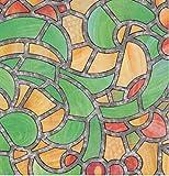 Bunte Fensterfolie Reims Adhesive - Klebefilm Bleiglas Look 0,45 m x 2 m grün orange