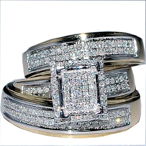 His Her Wedding Rings Set Trio Men Women 10k