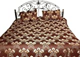 Coffee Brown Bedspread with All-Over Floral Weave - Pure Cotton Bedspread w ....