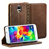 GMYLE Galaxy S5 Book Case Vintage for Samsung Galaxy S5 - Brown Classic [Crazy Horse Pattern] [PU Leather] Book style Wallet Flip Slim Case Cover