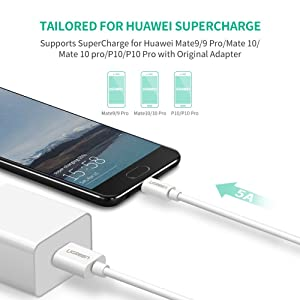 UGREEN USB C Cable 5A Huawei Supercharge Type C to USB A Quick Charging Fast Charger for Huawei Mate 20 Pro Mate 20 X Mate 10 9 Pro P20 Lite P10, Compatible with Samsung S10 S9 S8 Plus Galaxy Note 9 8 (Tamaño: 3 feet)