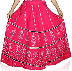 CAY Kutchi Floral Print Cotton Pink Long Ethnic Skirt (Free Size)