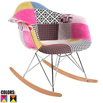 2xhome - Multi-color – Modern Upholstered Eames Style Armchair Fabric Chair Patchwork Multi-pattern Rocker Chrome Steel Eiffel Base Nursery Living Room