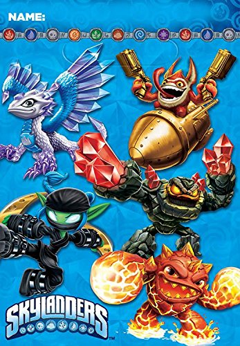 "Amscan Skylanders Folded Birthday Party Favors Loot Bag (8 Pack), 9"" x 6 1/2"", Blue"