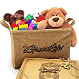 Large Jute Storage Bin with Free Bag - Best for Organizing Toys, Baby Clothes, and Children's Books to Achieve a Clutter-Free Home; Durable and Eco-Friendly Storage Basket