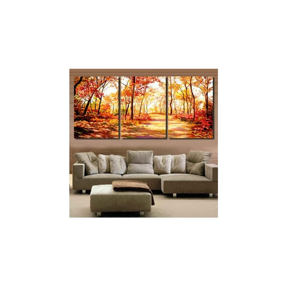 Modern Abstract Art Oil PaintingGolden Forest STRETCHED READY TO HANG Bang Art