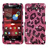 Pink Leopard Cheetah Leopard Black Bling Rhinestone Crystal Case Cover Diamond Faceplate For Motorola Droid Razr M XT907 with Free Pouch