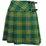20 Inch Green Irish Tartan Pleated Wrap Around Knee Length Kilt Skirt Sizes 6-28