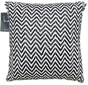 Amazon.com - Nicole Miller Beaded Decorative Toss Pillow Cover 100% Cotton Bugle Beads Zig Zag ...