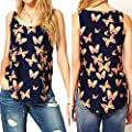 Lookatool Women's Butterfly Print Sleeveless Chiffon Tank Top Shirts Crew Vest