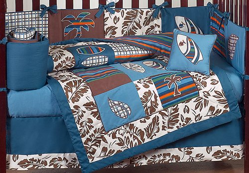 sweet jojo designs tropical hawaiian surf bedding 9pc crib set