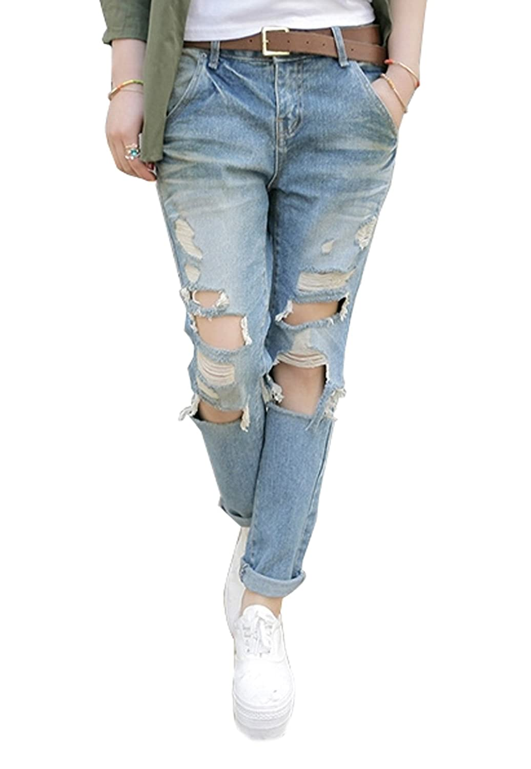 Hole Tide Women's Loose Ripped Holes Opening Denim Crop Jeans 2016 hole jeans free shipping woman distressed true denim skinny jean pencil pants trousers ripped jeans for women 031