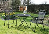 3 PIECE METAL GARDEN PATIO FURNITURE BISTRO SET MESH TABLE & 2 CHAIRS - BLACK