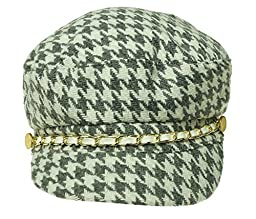 August Accessories Women\'s Houndstooth Conductor Cap Hat Grey/White