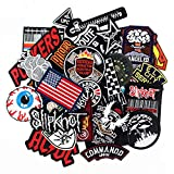 30pcs/lot Punk Fashion Men Boys Patches Badges Embroidery Iron on for Clothes Patches DIY Sewing ccessory (Tamaño: 30pcs Punk Fashion Patches)