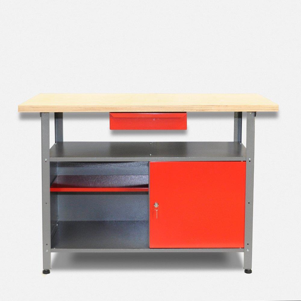 Werkbank aus Metall mit 30 mm Sperrholzplatte mit einer verschließbaren Tür, einer Schublade sowie einer Zwischenablage, Maße B 120 x H 85 X T 60 cm  BaumarktKundenbewertung und Beschreibung