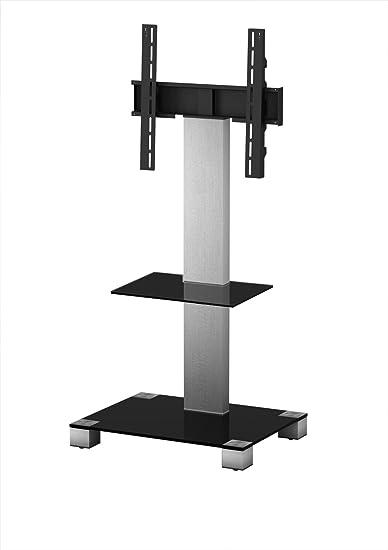 Sonorous PL 2515 - Supporto da terra per TV fino a 50 pollici, in vetro e acciaio inox, colore: Nero