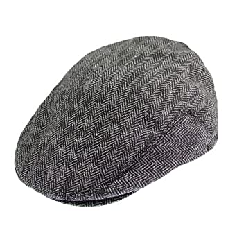 Brixton Hats Hooligan Flat Cap - Grey/Black Herringbone Grey Large-60cm