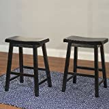 TMS 24-Inch Belfast Saddle Stool, Black, Set of 2