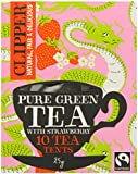 Clipper Fairtrade Green Tea and Strawberry Fuso (Pack of 6, 60 Tea Tents)