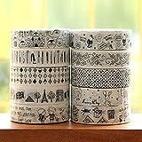 Idealhere かわいい テープ スクラップブック DIY装飾テープ 10m 10巻セット ランダムパターン