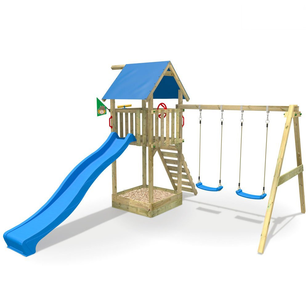 WICKEY Smart Empire Spielturm Kletterturm Baumhaus mit Rutsche Schaukel Sandkasten (blaue Dachplane / blaue Rutsche) bestellen