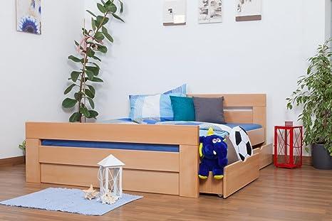 "Holzbett / Funktionsbett ""Easy Sleep"" K6 inkl. 2 Schubladen und 1 Abdeckblende 160 x 200 cm Buche Vollholz massiv Natur"