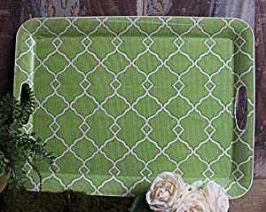 Shabby Cottage Chic Green Serving Kitchen Tray Decor