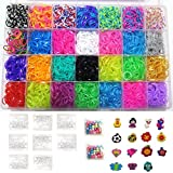 7500 Quality Rainbow Rubber Bands Refill Set by Daskid - Includes: Organizer + 7000 Premium Rubber Bands in 28 Different Colors, + 400 S Clips, + 15 Charms and 100 Beads.