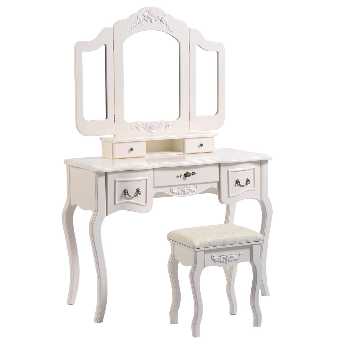 Giantex Tri Folding Vintage White Vanity Makeup Dressing Table Set 5 Drawers &stool 0