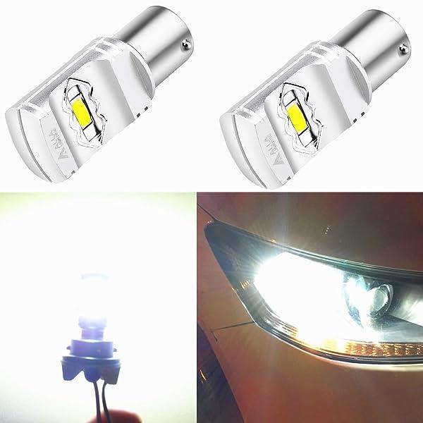 6000K Xenon White Set of 2 Alla Lighting BA15S 1156 Strobe Reverse Lights LED Bulbs Super Bright 7506 1003 3497 1156 Flashing Strobe LED Bulbs High Power 1156 Strobe Back-up Light Bulbs