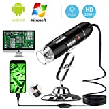 YKSINX USB Digital Microscope, 40 to 1000 x High Resolution Camera, Built-in 8pc led lights USB Microscope Camera, HD USB Magnification Endoscope with