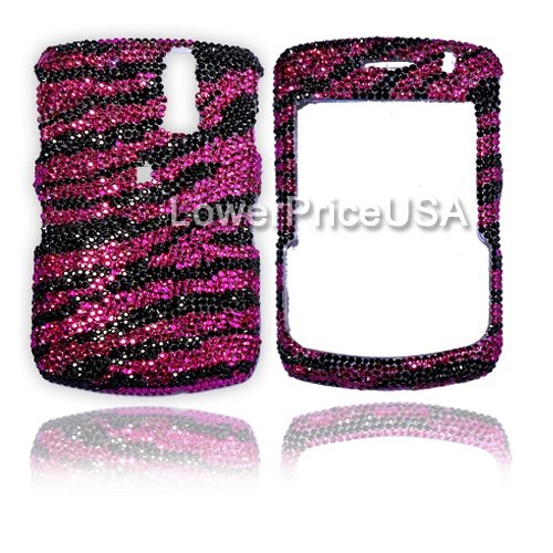 Blackberry 8300 Genuine Swarovski Crystal (7ss) Hot Pink Zebra Design Faceplate Cover Case