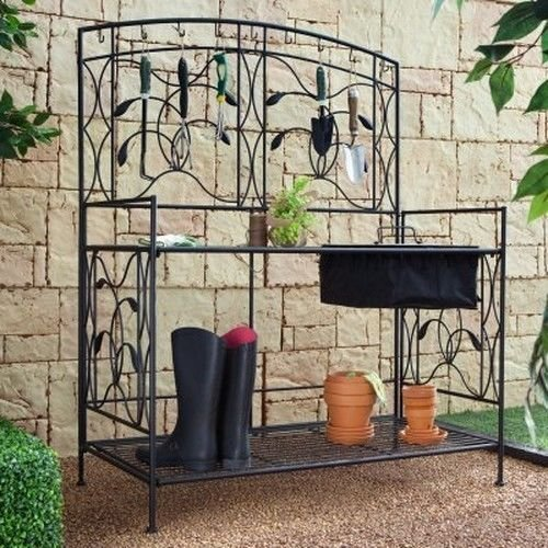 (USA Warehouse) Coral Coast Willow Creek Metal Potting Bench Garden Outdoors Black RH11532-46W -/PT# HF983-1754418565 (Coral Coast Potting Bench compare prices)