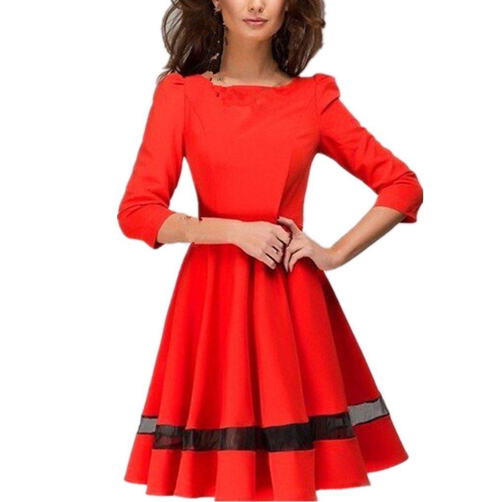 Women Dress,Haoricu Fall Fashion Women Ladies Elegant Solid Long Sleeve Pleated Party Dress 0